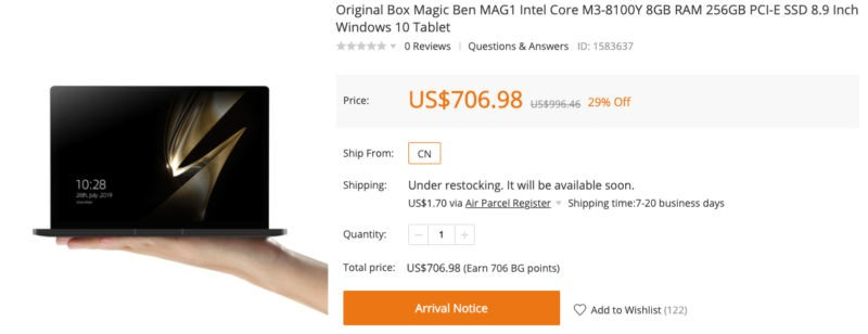 Banggood Magic Ben MAG1 Intel Core M3-8100Y 8GB RAM 256GB PCI-E SSD 8.9 Inch Windows 10 Tablet