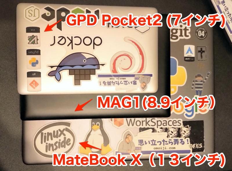 UMPC MAG1とGPD Pocket2 Matebook Xでラップトップサイズ比較