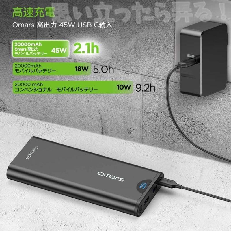 Omarsモバイルバッテリーは充電自体も速い