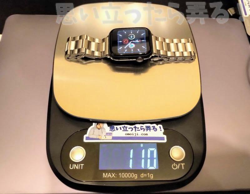 3連ステンレスブレスのウォッチリストバンドを装着した偽Apple Watchの重量は110g