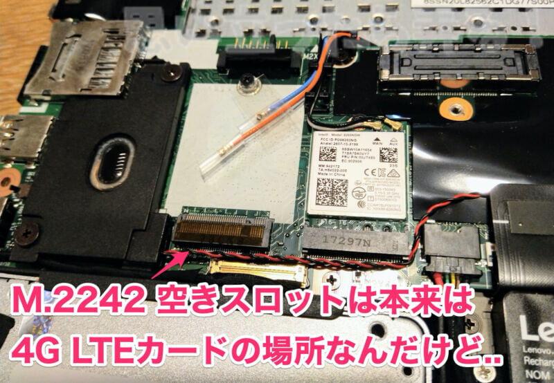 M.2242空きスロットは本来は4G LTEカードの場所なんだけど