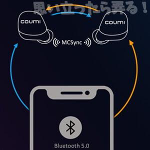 COUMI Ear Soul TWS-817Aは、左右同時伝送のMCSync 技術を採用