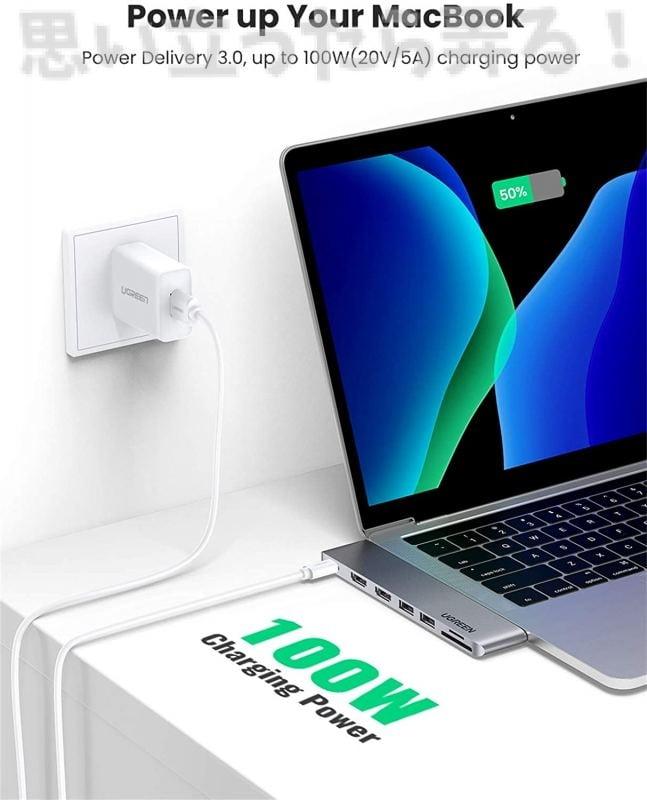 UGREEN Type-C USBマルチハブは最大100WのPD給電にも対応